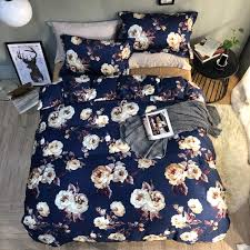 2018 flowers dark blue bedding sets egyptian cotton duvet cover set queen king size bed cover pillowcases sheet tie dye bedding sheet set from
