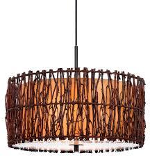 tree wood twigs drum pendant light 18 w