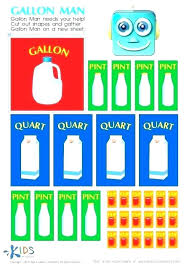 Conversion Chart Quarts To Cups Converting Gallons Quarts Pints And Cups Worksheets