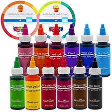 12 Food Color Chefmaster By Us Cake Supply 2 3 Ounce Liqua Gel Cake Food Coloring Variety Pack With Color Mixing Wheel Made In The Usa