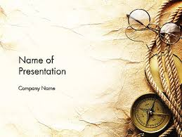 Scroll Powerpoint Template Compass Rope And Glasses On Old Paper Presentation Template