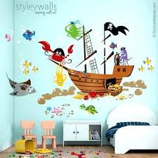 underwater wall decal ocean wall decal pirate ship wall decal pirate fishes wall ocean wall decals mermaid wall decal stickers under large sea turtle