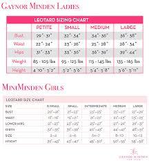 Leotard Size Chart Gaynor Minden Size Chart