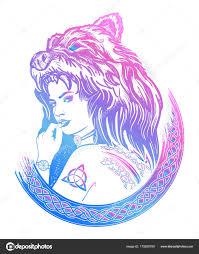 Warrior žena Barevné Tetování Silná Indiánka Stock Vektor