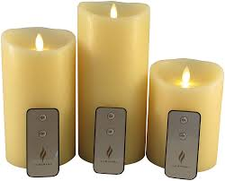 com set of 3 luminara flameless candles 4x5 4x7 4x9 ivory moving flame candles with timer remote controls and batteries home kitchen