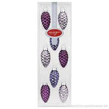 8 Stk Zapfen Glas 5 5cm Polar Night Violett Beere