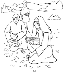 Small Picture Gathering Manna from Heaven Coloring Page