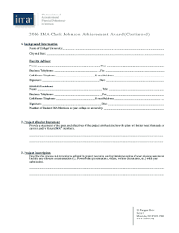 Fillable Online 2017 IMA Clark Johnson Achievement Award Call for  Submissions Fax Email Print - PDFfiller