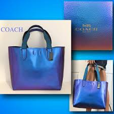 coach large derby tote purse metallic leather navy blue wristlet 21070 59388 for