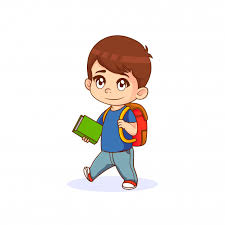 little boy holding a book with backpack cartoon ilration premium vector
