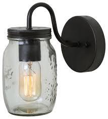 clear glass mason jar indoor wall lamp