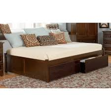 dark brown wooden Daybed with double storage drawers and beige bed