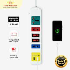 Ổ cắm điện đa năng có USB Honjianda Mã 03 Loại 2 công tắc Dây 3m - an toàn  chống quá tải - Ổ cắm điện