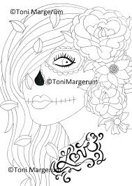 Sugar Skull Girl Digital Download Instant Coloring Page Etsy