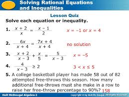 lesson quiz solve each equation or inequality x 2 x x