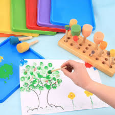 pincel pintando. 4 unidades amarillo esponja pincel de sello mango madera original niños pintando un