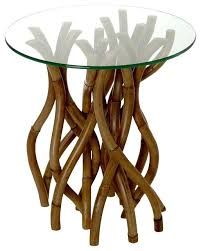catchy glass top side table with twisted rattan tropical tables round tabl