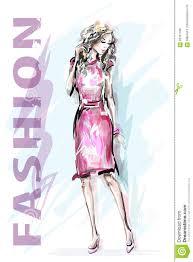 модель способа платья золотистая нарисованная рукой красивая женщина