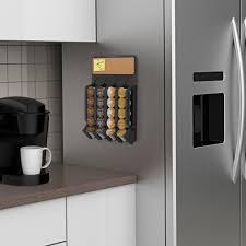 mind reader fridge wall mount coffee pod k cup dispenser with cork top black com