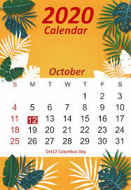Free October 2020 Printable Calendar Template In Pdf Word