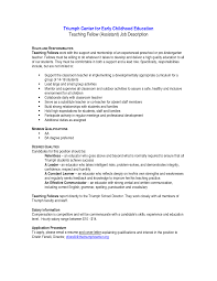 Preschool Teacher Assistant Job Description Resume Free Resume