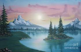painting painting mountain lake painting a la bob ross 1 by bruno santoro