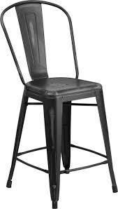 black metal outdoor furniture. 24\u0027\u0027 High Distressed Black Metal Indoor-Outdoor Counter Height Stool With  Back Black Metal Outdoor Furniture
