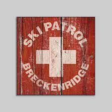 ski patrol breckenridge wood sign sport