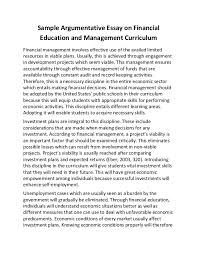 sample argumentative essay on financial education and management curr sample argumentative essay on financial education and management curriculum financial management involves effective use of