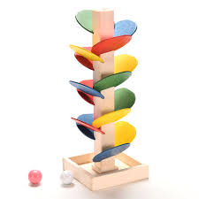 Wooden Game With Marbles Funny Wooden Tree Marble Ball Run Track Game Blocks Baby Toys Kids 96