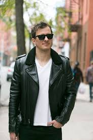 men s black leather biker jacket white v neck t shirt black skinny jeans black sunglasses men s fashion lookastic com
