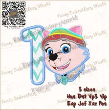 Umizoomi Embroidery Design Paw Patrol Everest First Birthday Applique Embroidery Design