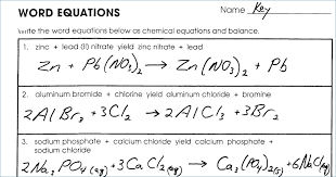 chemistry word equations worksheet answers worksheets for all