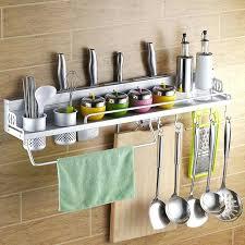 new space aluminum wall mounted kitchen shelf cooking utensil tools hook rack holder hooks rail