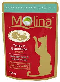 Корм для кошек <b>Molina Пауч</b> для кошек Тунец и цыпленок в желе ...