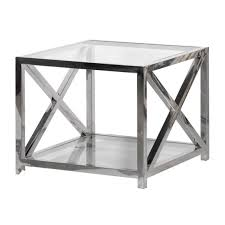 square silver glass coffee table