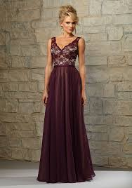 Lace Bodice Bridesmaid Dress With Chiffon Skirt Over Nude Lining