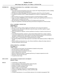 Final Assembly Resume Samples Velvet Jobs