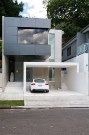 Architecture:Modern Live In Garage With Glasses Door White Garage Design  Outdoor Design Idea