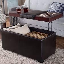 storage ottoman coffee table leather