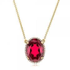 custom ruby and diamond pendant three quarter view 102523 thumbnail