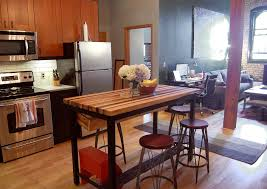 Butcher Block Kitchen Island Butcher Block Kitchen Island With Industrial Base And Wine