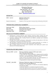 Resume Format For Pharmacy Graduates Resume Format
