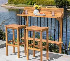luca outdoor sunroom furniture out door patio furniture natural stained acacia wood three piece balcony set great for summer barbecues garden parties