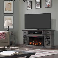 70 inch weathered gray fireplace tv