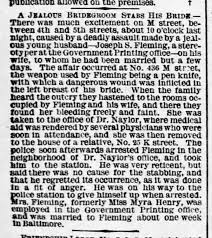 A Jealous Bridegroom, Joseph S Fleming stabs his Bride, Myra Henry -  Newspapers.com