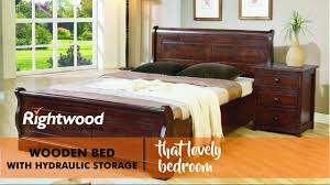 Wooden bed with hydraulic storage Indian furniture by Rightwood