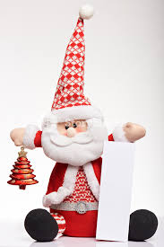 Santa Claus With Vertical Banner Isolated On White Background