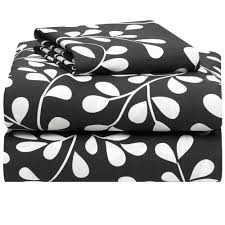 black with white vines 400 thread count twin xl 3 piece sheet set