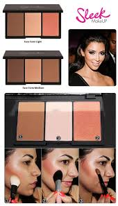 sleek makeup face form contouring and blush palette light 373